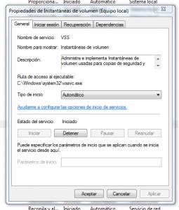 Activar restaurar sistema en Windows 7 - ventana propiedades