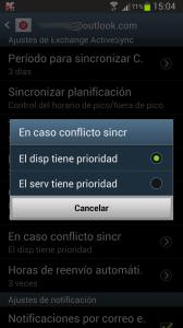 Sincronizar tareas y contactos  - En caso de conflicto en la sincronización entre Android y Outlook com