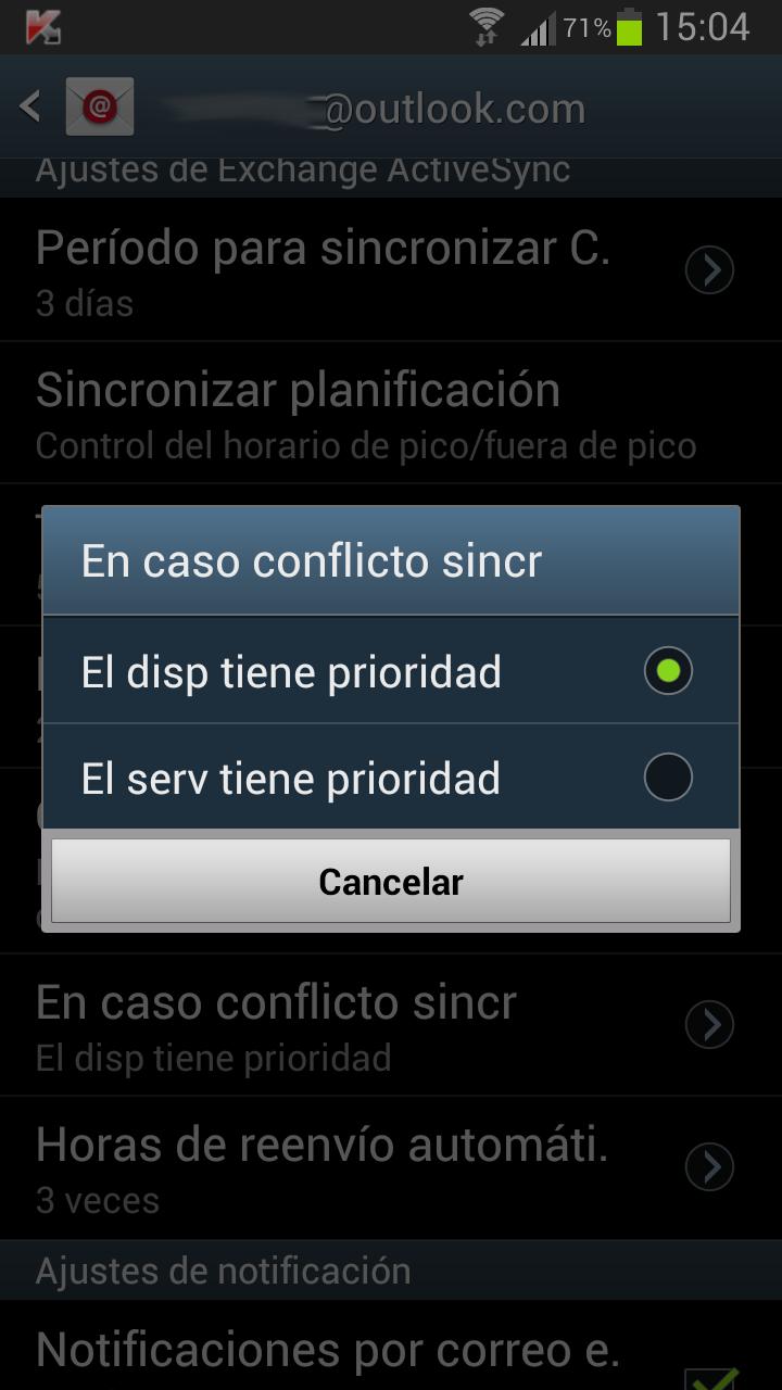 En caso de conflicto en la sincronización entre Android y Outlook com