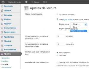 Páginas de entradas adicionales en WordPress - WordPress - Página de cocina - Ajustes página inicial