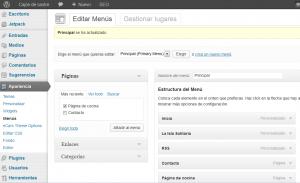 Páginas de entradas adicionales en WordPress - WordPress - Página de cocina - Menú