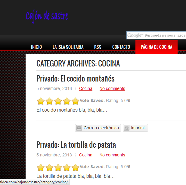 Páginas de entradas adicionales en WordPress - WordPress - Página de cocina - Página apunta a categoría cocina