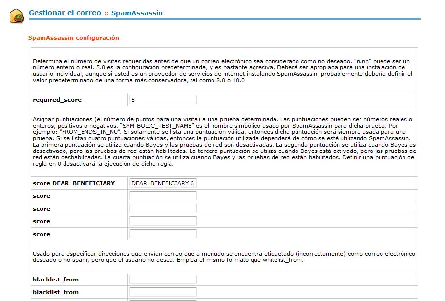 CPanel - Gestionar el correo - Configurar Spamasassin - Regla de prueba
