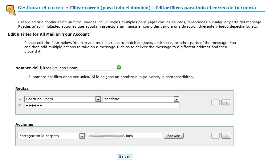 CPanel - Gestionar el correo - Filtro Spam