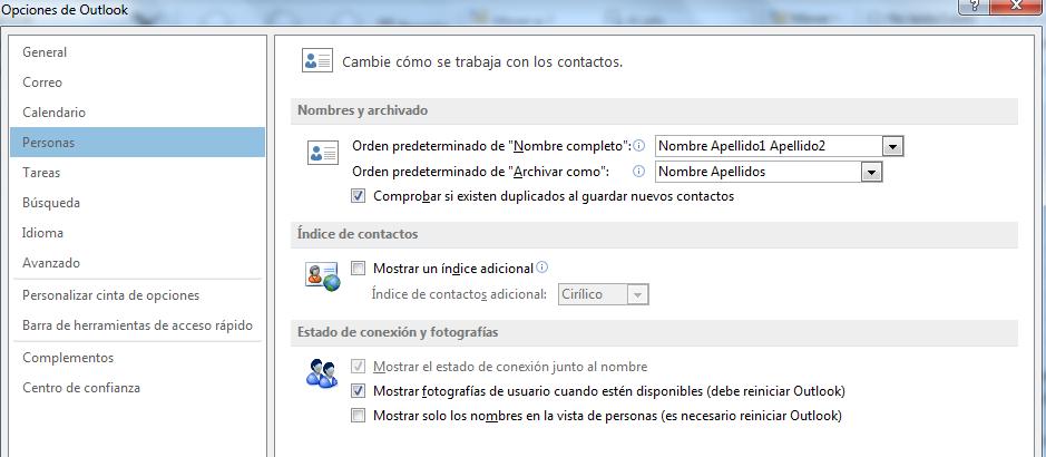 contactos en Outlook.com - Estado de conexión y fotografías en opciones Outlook