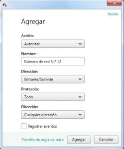 KIS 2014 - Configuración - Parámetros del firewall - Agregar regla
