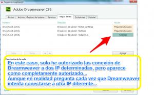 KIS 2014 - Configuración - Parámetros del firewall - Dreamweaver autorizado