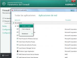 KIS 2014 - Configuración - Parámetros del firewall - Grupos - Detalles y reglas