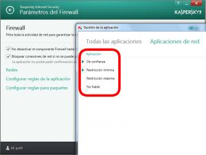 KIS 2014 - Configuración - Parámetros del firewall - Grupos