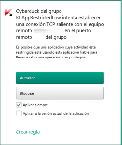 KIS 2014 - Configuración - Parámetros del firewall - Pantalla opciones intento conexión aplicación