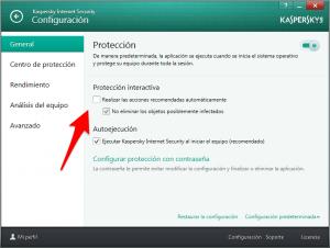 KIS 2014 - Configuración - Protección interactiva