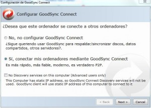 Sincronizar archivos - Configuración GoodSync Connect