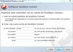 Sincronizar archivos - Configuración GoodSync Connect - Crear nueva cuenta