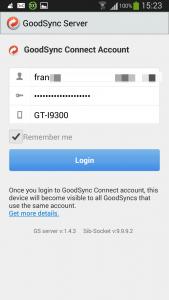 Sincronizar archivos - GoodSync server - Conectar cuenta