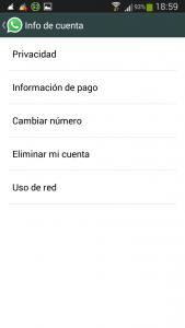 notificaciones en whatsapp - WhatsApp - Ajustes - Info de cuenta 2015-01-05-18-59-42