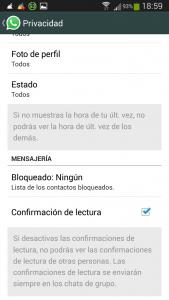 notificaciones en whatsapp - WhatsApp - Ajustes - Info de cuenta -Privacidad 2015-01-05-18-59-58