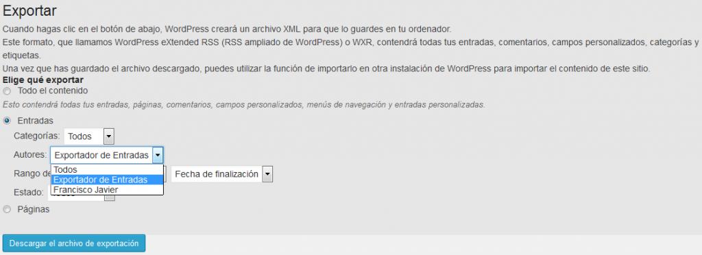 Exportar e importar entradas en wordpress - WordPress - Plugin - Menu importar exportar - Exportar - Elegir que exportar