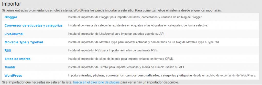 Exportar e importar entradas en wordpress - WordPress - Plugin - Menu importar exportar - Importar - Elegir importador