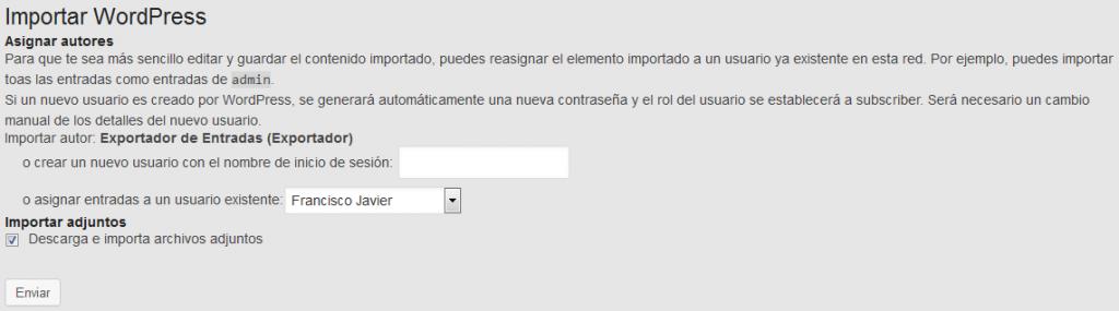 Exportar e importar entradas en wordpress - WordPress - Plugin - Menu importar exportar - Importar - Elegir usuario