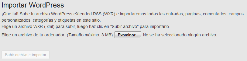 Exportar e importar entradas en wordpress - WordPress - Plugin - Menu importar exportar - Importar - Examinar archivos