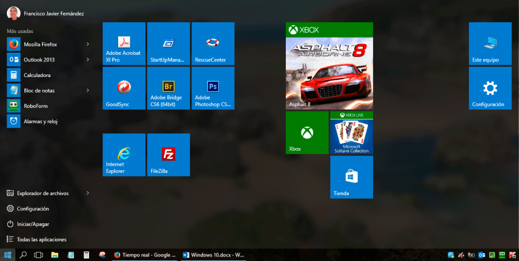 Windows 10 pro - Menú inicio - pantalla de inicio grande