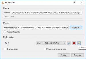 Seleccionar archivo de destino - convertir a mp4