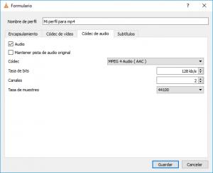 Crear y configurar perfil personalizado - Códec de audio - convertir a mp4