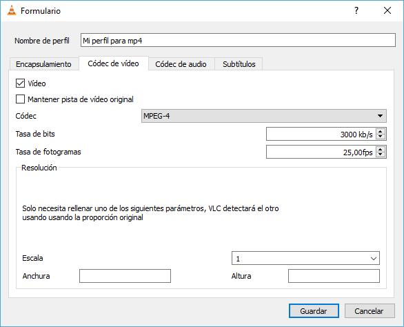 Crear y configurar perfil personalizado - Códec de vídeo - convertir a mp4