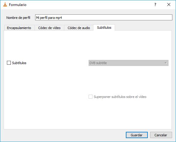 Crear y configurar perfil personalizado - Subtítulos - convertir a mp4