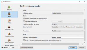 VLC - Preferencias de audio - convertir a mp4