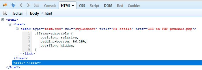 variables en CSS - iframe responsive - Página vista con Firebug