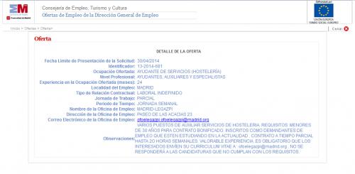 Oferta empleo Madrid empleo 21 de abril de 2014