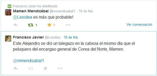 Conversación Twitter sobre Alejandro Cao entre Lesidea y Mamen Mendizabal